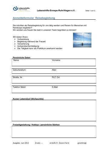 Anmeldeformular Reisebegleitung - Lebenshilfe Ennepe-Ruhr ...