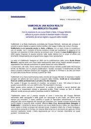 VIAMICHELIN, UNA NUOVA REALTA' SUL MERCATO ITALIANO