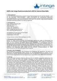 AGB's der Intega Gastronomietechnik oHG für Internet-Geschäfte