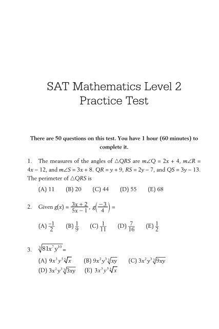 SAT Mathematics Level 2 Practice Test - MyMaxScore com