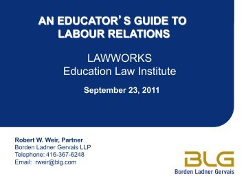 A Educator's Guide to Labour Relations - OISE