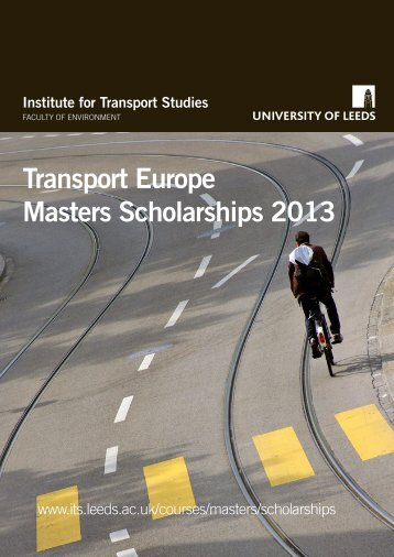 Transport Europe Masters Scholarships 2013 - Institute for Transport ...