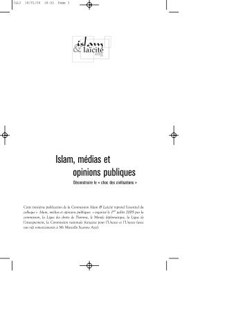 Islam, médias et opinions publiques - Islam & Laïcité