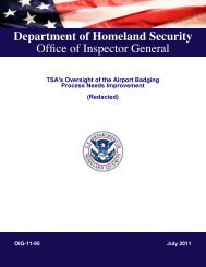 Office of Inspector General - Committee on Homeland Security