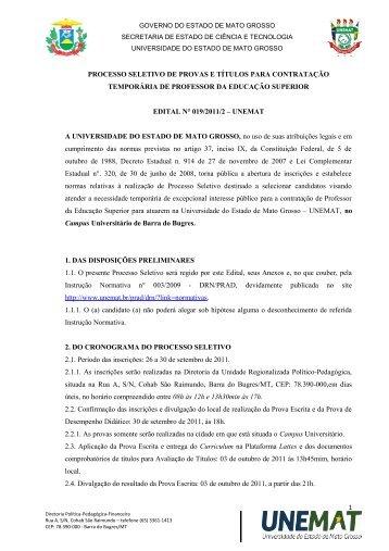 Edital nº 019/2011/2 - Unemat