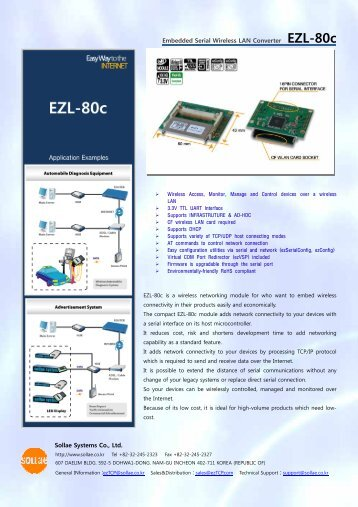 Embedded Serial Wireless LAN Converter EZL-80c Sollae Systems ...