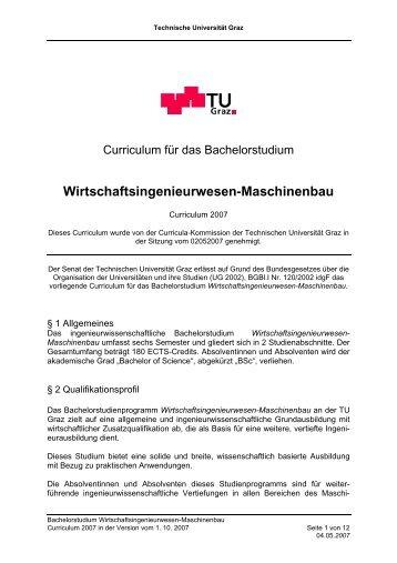 Curriculum für das Bachelorstudium ... - mibla.TUGraz.at