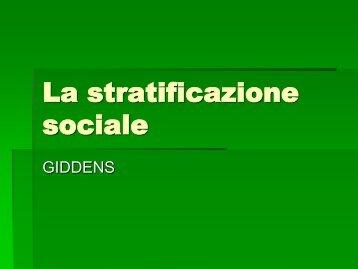 La stratificazione sociale - Facoltà di Scienze Politiche