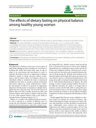 The effects of dietary fasting on physical balance ... - Nutrition Journal
