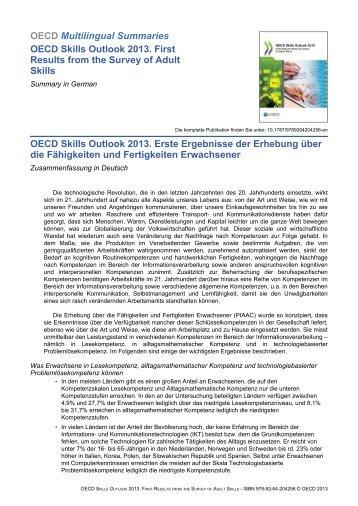 OECD Skills Outlook 2013 - OECD Online Bookshop