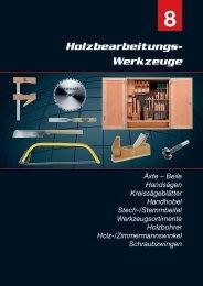 8 Holzbearbeitungs-Werkzeuge