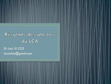 Résultats des plasties du LCA