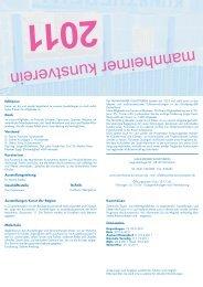Ausstellungsprogramm 2011.indd - Mannheimer Kunstverein