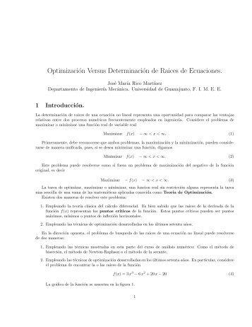 Optimización Versus Determinación de Raices de Ecuaciones.