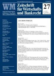aus dem inhalt - WM IV Zeitschrift für Wirtschafts- und Bankrecht