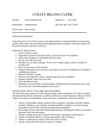 Job Description Job Title: Accounting Clerk Flsa Status: Non