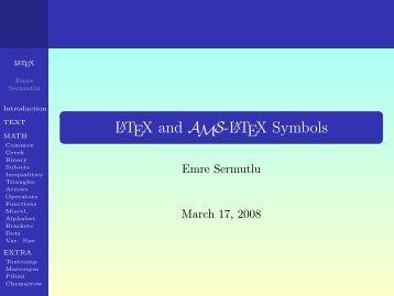 A Short List of the Standard LaTeX Symbols