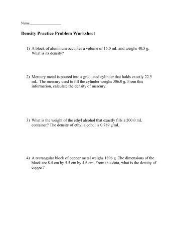 Density Practice Problems Worksheet Answers
