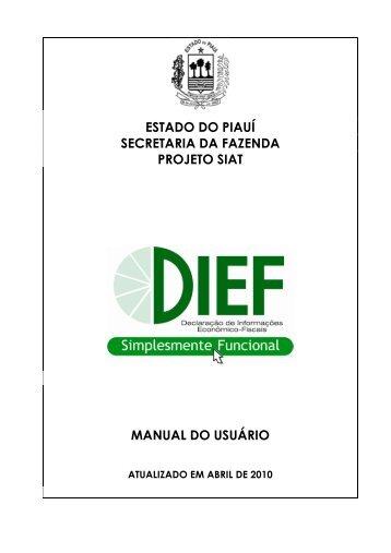 Manual da DIEF - Bem vindo ao Portal da SEFAZ-PI