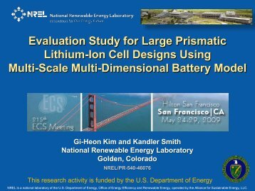 Evaluation Study for Large Prismatic Lithium-Ion Cell ... - NREL