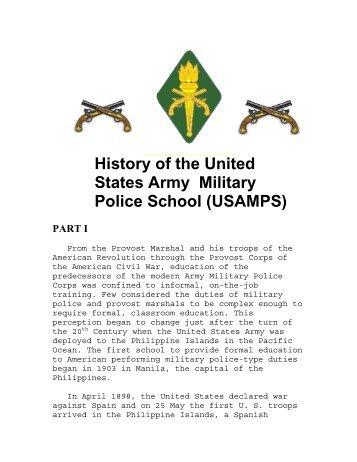 History of the U.S. Army Military Police School ... - MPRA Online