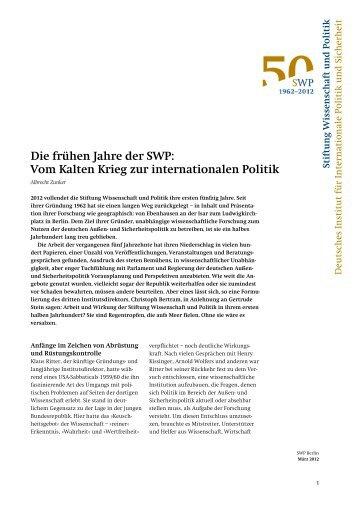 Die frühen Jahre der SWP: Vom Kalten Krieg zur internationalen ...