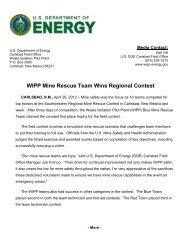 WIPP Mine Rescue Team Wins Regional Contest - Waste Isolation ...