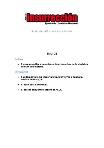 Revista No. 002 - 1 de febrero del 2004 INDICE Editorial Internacional