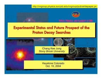 Experimental Status of the Proton Decay Searches - Stony Brook NN ...