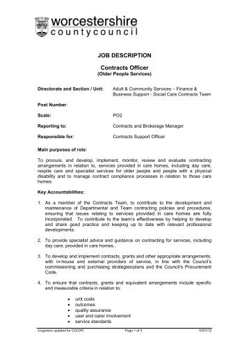 JOB DESCRIPTION Contracts Officer   Worcestershire County Council