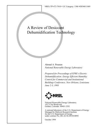 A Review of  Desiccant Dehumidification Technology  - NREL