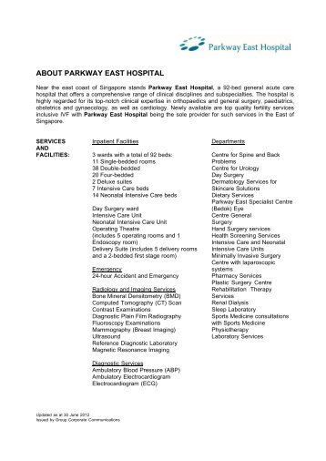 ABOUT GLENEAGLES HOSPITAL - Parkway Pantai