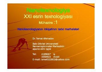 Mühazirə :1 - Bakı Dövlət Universiteti