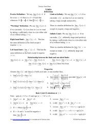 Calculus Limits Cheat Sheet - Pauls Online Math Notes