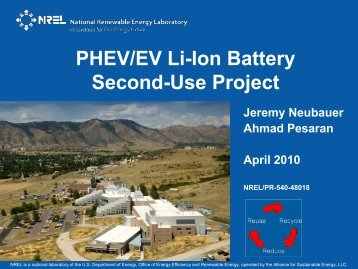 PHEV/EV Li-Ion Battery Second-Use Project - NREL