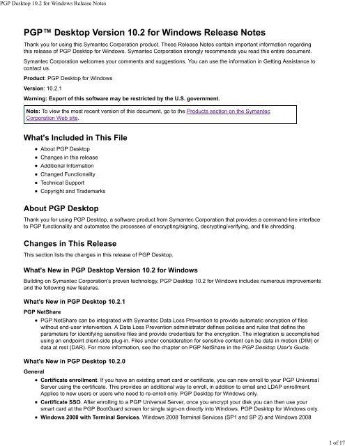 PGP Desktop 10 2 for Windows Release Notes - Symantec