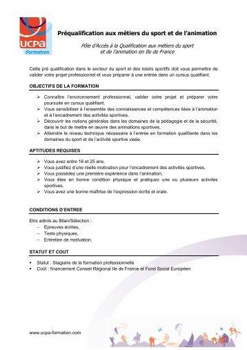 Préqualification aux métiers du sport et de l'animation - Ucpa