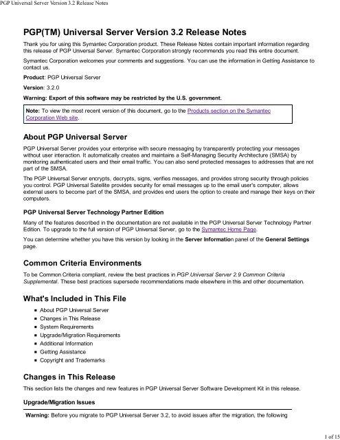 PGP Universal Server Version 3 2 Release Notes - Symantec