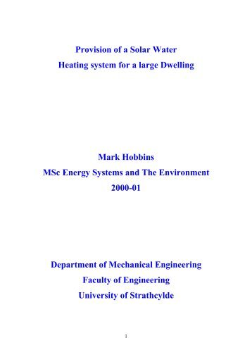 Provision of a Solar Water Heating system for a large Dwelling Mark ...