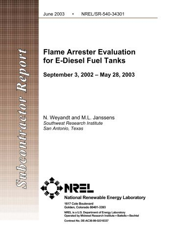 Flame Arrester Evaluation  for E-Diesel Fuel Tanks ... - NREL