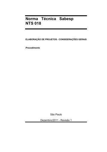 Norma Técnica Sabesp NTS 018