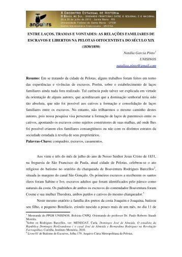 Natália Garcia Pinto - X Encontro Estadual de História – ANPUH-RS
