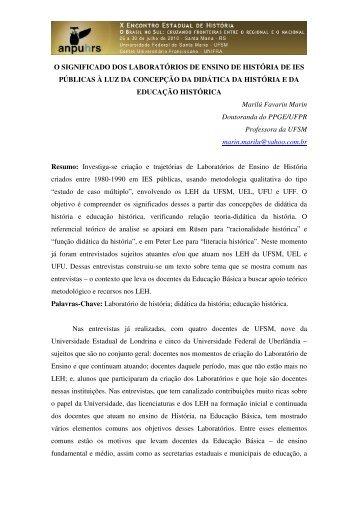 Marilú Favarin Marin - X Encontro Estadual de História – ANPUH-RS