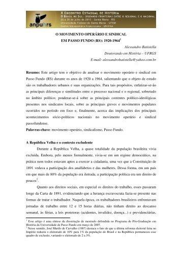 Alessandro Batistella - X Encontro Estadual de História – ANPUH-RS