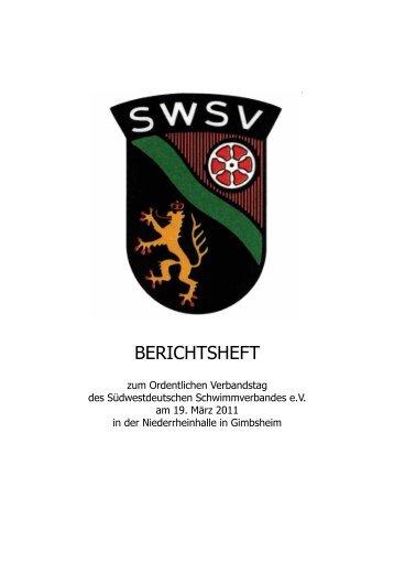 BERICHTSHEFT - Südwestdeutscher Schwimmverband