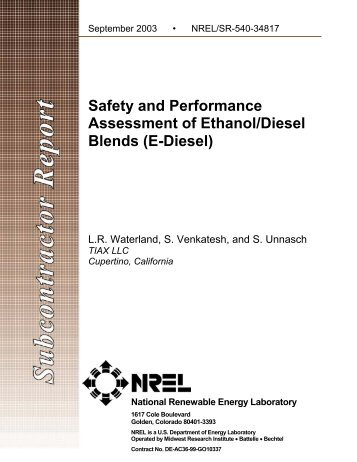 Safety and Performance Assessment of Ethanol/Diesel Blends - NREL