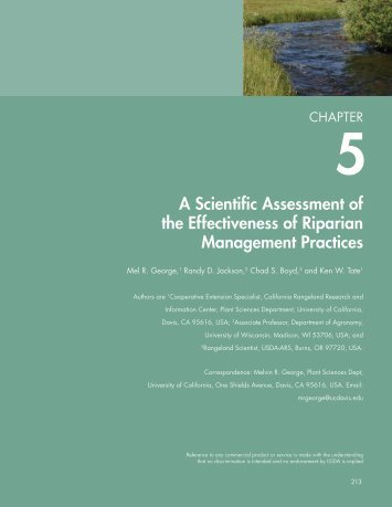 A Scientific Assessment of the Effectiveness of Riparian ...