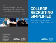 COLLEGE RECRUITING SIMPLIFIED - IMG Academy