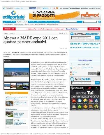 alpewa a made expo 2011 con quattro partner esclusivi - Alpewa S.r.l.