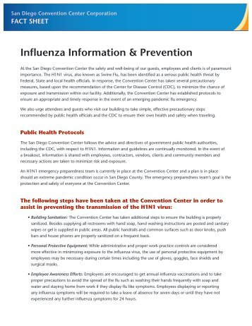 Download the Influenza Fact Sheet - San Diego Convention Center